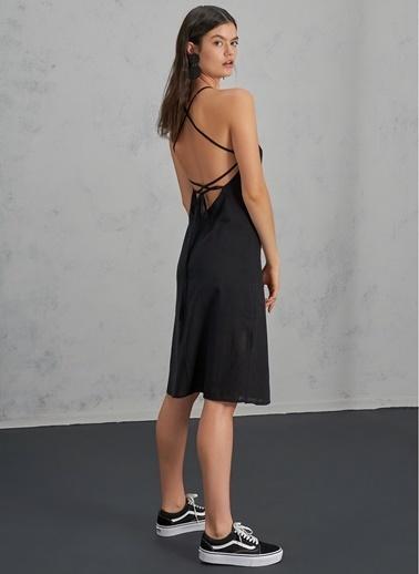 Pi π Yırtmaç Detaylı Elbise Siyah
